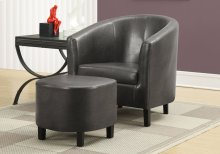 ACCENT CHAIR - 2PCS SET / CHARCOAL GREY LEATHER-LOOK