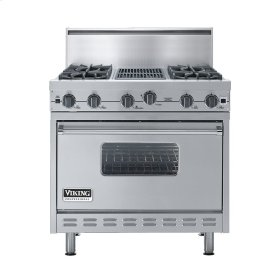 "Stainless Steel 36"" Open Burner Commercial Depth Range - VGRC (36"" wide, four burners 12"" wide char-grill)"