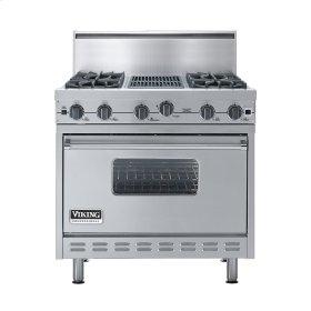 "Stainless Steel 36"" Open Burner Commercial Depth Range - VGRC (36"" wide, four burners 12"" wide char-grill)"