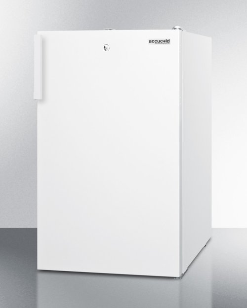 "Commercially Listed ADA Compliant 20"" Wide Built-in Undercounter Refrigerator-freezer In White With A Front Lock"