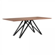 Armen Living Modena Contemporary Dining Table in Matte Black Finish and Walnut Wood Top