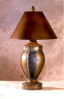 6571  Copper & Burgundy Tulip Lamp