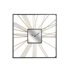 Square Gold Metal Mirror Clock, Wb