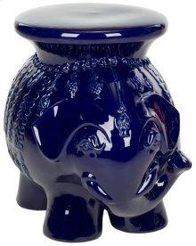Navy Glazed Ceramic Elephant Stool - Navy