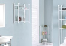 "BATHROOM ACCENT - 26""H / WHITE METAL WITH TEMPERED GLASS"
