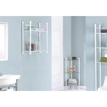 """BATHROOM ACCENT - 26""""H / WHITE METAL WITH TEMPERED GLASS"""