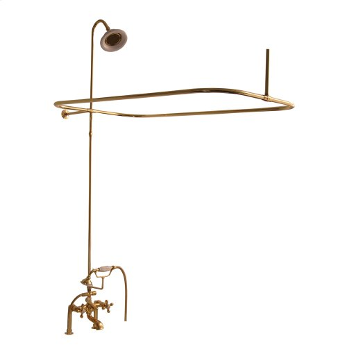 Tub/Shower Converto Unit - Elephant Spout, Shower Ring, Riser, Showerhead, Cross Handles - Polished Brass