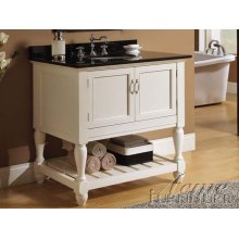 Vevila White Finish Sink w/Black Marble Top Set