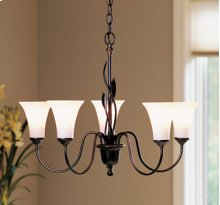 Chandelier: Forged leaves with five arms and glass options.