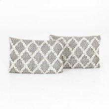 "16x24"" Size Black & Cream Diamond Pillow, Set of 2"