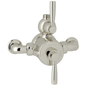 Polished Nickel Perrin & Rowe Holborn Exposed Thermostatic Mixer with Holborn Metal Lever