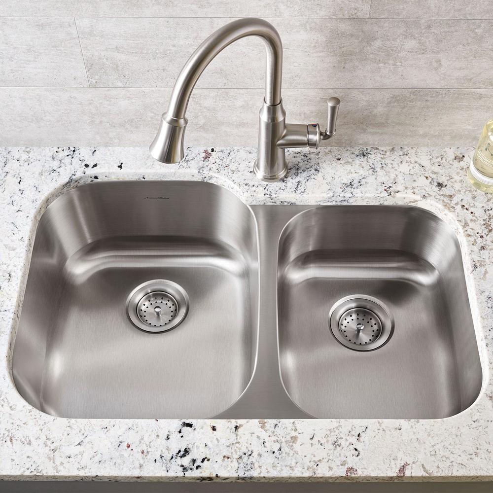 Portsmouth Undermount Double Bowl Kitchen Sink American Standard    Stainless Steel