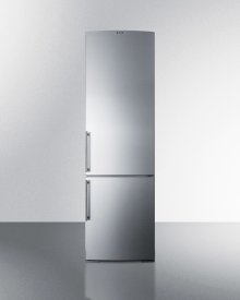 European Counter Depth Bottom Freezer Refrigerator With Stainless Steel Doors, Platinum Cabinet, and Digital Controls for Each Section\n
