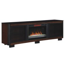 This impressive Chocolate finished wood TV stand offers versatility and fun...
