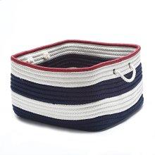 """Nautical Stripe Basket AU01 Navy Red 14"""" X 10"""""""