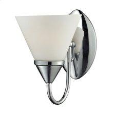 1LIGHT GLASS BATH BAR in CHROME FINISH