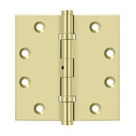 """4 1/2""""x 4 1/2"""" Square Hinges, Ball Bearings - Unlacquered Brass"""