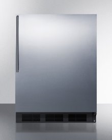 ADA Compliant Commercial All-refrigerator for Freestanding General Purpose Use, Auto Defrost W/ss Door, Thin Handle, and Black Cabinet