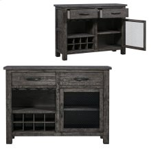 Pembroke Plantation Recycled Pine Distressed Grey 2 Drawer 1 Metal Door Wine Cabinet