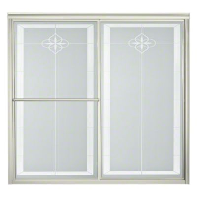 "Deluxe Sliding Bath Door - Height 56-1/4"", Max. Opening 59-3/8"" - Nickel with Templar Glass Pattern"