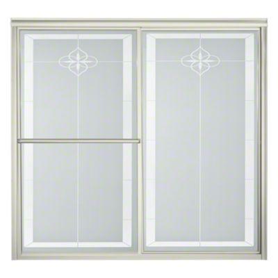 """Deluxe Sliding Bath Door - Height 56-1/4"""", Max. Opening 59-3/8"""" - Nickel with Templar Glass Pattern"""