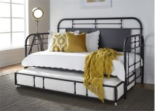 Twin Metal Day Bed w Trundle - Black