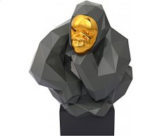 Grey and Gold Pondering Ape Sculpture Product Image