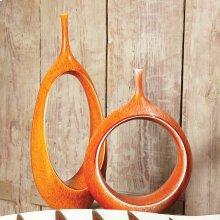 Open Oval Ring Vase-Orange