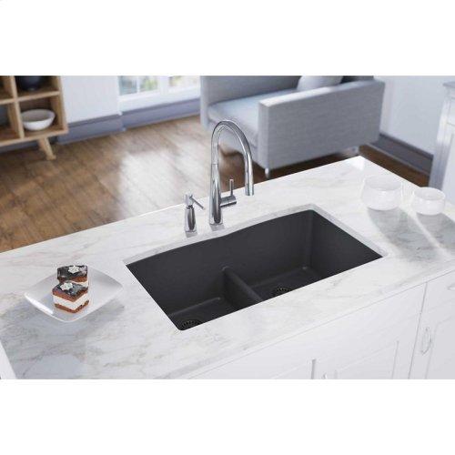 "Elkay Quartz Classic 33"" x 19"" x 10"", Equal Double Bowl Undermount Sink with Aqua Divide, Dusk Gray"
