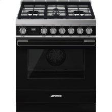"Portofino Pro-Style Dual Fuel Range, Black, 30"" x 25"""