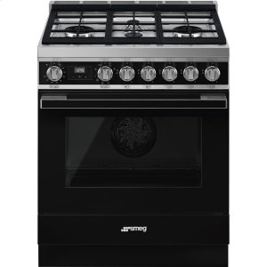 """SmegPortofino Pro-Style Dual Fuel Range, Black, 30"""" x 25"""""""