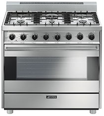 "SmegFree-Standing Gas Range, 36"", Stainless Steel"
