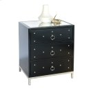 Black Lacquer 3 Drawer Nighstand With Nickel Studs. All Drawers On Glides. Product Image