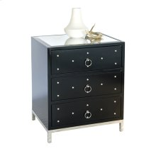 Black Lacquer 3 Drawer Nighstand With Nickel Studs. All Drawers On Glides.