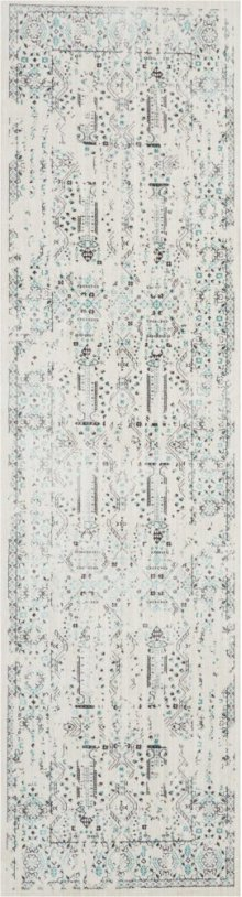 Silver Screen Ki343 Ivory/teal Runner 2'2'' X 7'6''