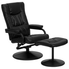 Contemporary Multi-Position Recliner and Ottoman with Wrapped Base in Black Leather