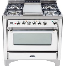 True White with Chrome trim - Majestic 36-inch Range with Griddle