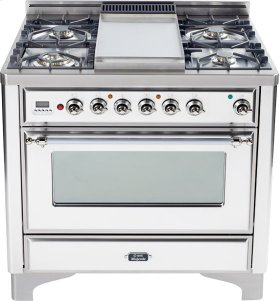 True White with Chrome trim - Majestic 36-inch Range with 6-Burner