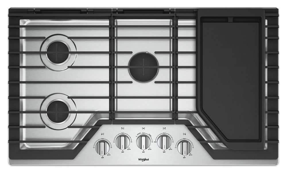 57a9d6b02a3 WCG97US6HS Whirlpool 36-inch Gas Cooktop with Griddle STAINLESS ...