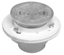 "6"" Round Complete Shower Drain - PVC - Brushed Nickel"
