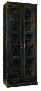 Two-Door Thin Display Cabinet - Ebony Product Image