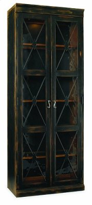 Two-Door Thin Display Cabinet - Ebony Product Image