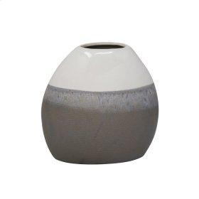 """Ceramic 9.25"""" Vase, Multi Gray"""