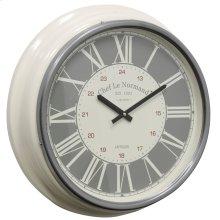 Metal & Glass Wall Clock  19in X 19in X 4in