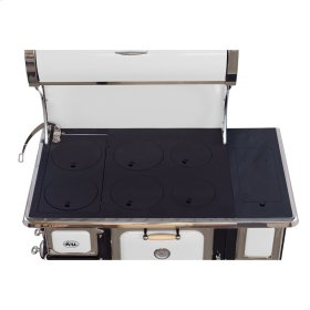White Oval Wood Cookstove with Water Reservoir