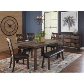 Painted Canyon Dining Table With 4 Chairs and A Bench