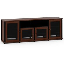 Synergy Solution 345, Quad-Width AV Cabinet, Walnut with Black Posts