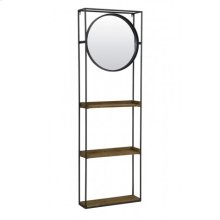 Wall rack with mirror 53x15x165 cm DAIYA black+wood