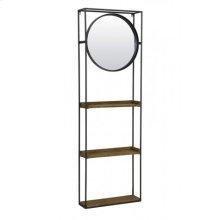 Wall rack with mirror 53x15x165 cm DAIYA black+wood