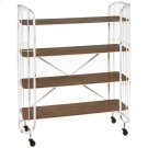 Distressed White Four Tier Shelf on Wheels Product Image